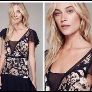 Free people cocktail gold embroidered black dress